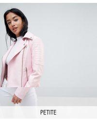 Noisy May Petite - Pink Leather Look Biker Jacket - Lyst