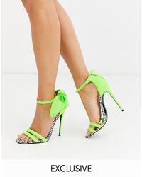 X Christian - Cowan - Chaussures à talons hauts avec nœud ASOS en coloris Green
