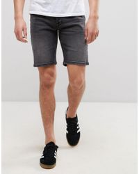 Only & Sons - Gray Slim Fit Denim Shorts for Men - Lyst