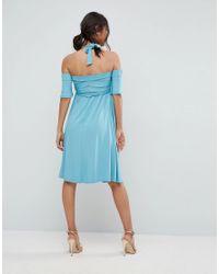 ASOS Blue Criss Cross Skater Dress With Cold Shoulder