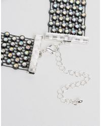 Monki Black Multi Rhinestone Choker