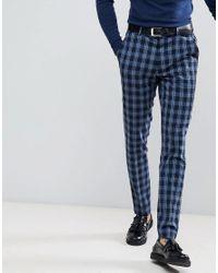 ASOS - Super Skinny Suit Pants In Blue Tartan Check for Men - Lyst