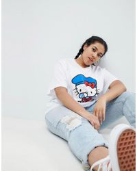 ASOS - Black Hello Kitty X Oversized T-shirt With Dabbing Print - Lyst