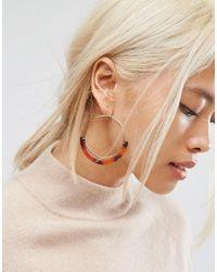 ASOS | Metallic Open Hoop Tortoiseshell Trim Earrings | Lyst