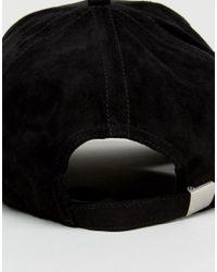 Jack & Jones Black Baseball Cap In Suede for men