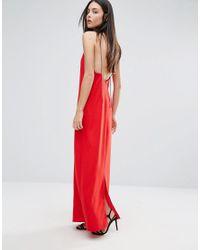 Warehouse Red Rhinestone Spaghetti Strap Dress
