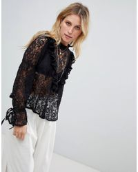 Blusa de encaje Historical ASOS de color Black