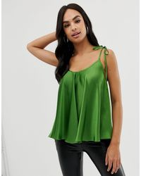 Caraco trapèze en satin noué aux épaules ASOS en coloris Green