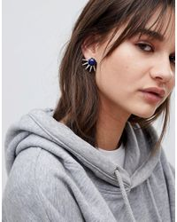 ASOS - Metallic Design Stone And Spike Stud Earrings - Lyst