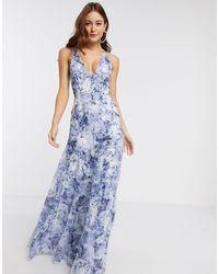 Vestido largo con parte posterior ASOS de color Blue