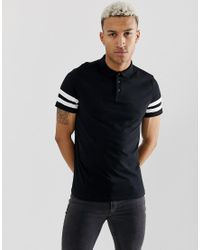 ASOS Organic Polo Shirt With Contrast Sleeve Stripe In Black for men