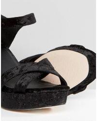 ASOS - Black Hummingbird Wide Fit Velvet Heeled Sandals - Lyst