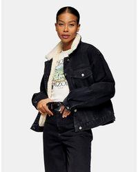 TOPSHOP Brown Oversized Sherpa Lined Denim Jacket