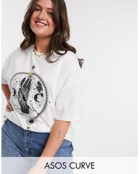 ASOS White Asos Design Curve Oversized T-shirt With Luna Starsign Print