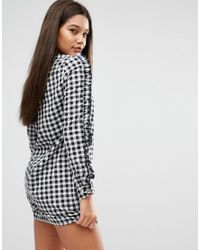 Missguided Black Gingham Ruffle Sleeve Dress