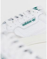 Adidas Originals – Continental 80 Vulc – Leder-Sneaker mit grüner Zugschlaufe in White für Herren