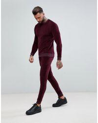 Chndal con sudadera ajustada y joggers muy ajustados de velour en burdeos de ASOS ASOS de hombre de color Red