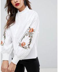 Mango - White Embroidered Sleeve Shirt - Lyst