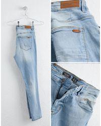 Pull&Bear Blue Ripped Jeans for men
