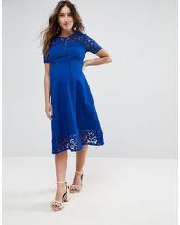Vestito premium midi con inserti di ASOS in Blue