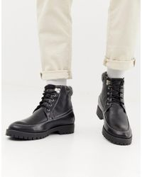Truffle Collection Black Lace Up Hiker Boot for men