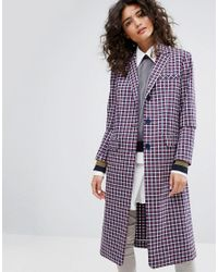 Sonia by Sonia Rykiel Purple Small Check Tailorerd Coat