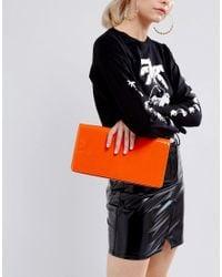 ASOS | Orange Long Structured Patent Clutch Bag | Lyst
