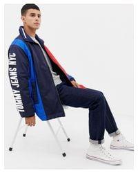 Tommy Hilfiger Blue Oversize Colourblock Jacket for men