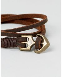 ASOS - Double Wrap Leather Bracelet With Anchor In Brown for Men - Lyst