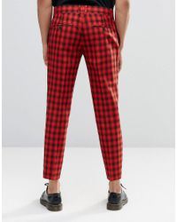 Religion Red Skinny Cropped Trousers In Check for men