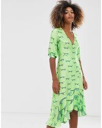 Vestido midi con diseño cruzado Liquorish de color Green