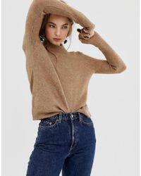Jersey de mezcla de lana con cuello subido Jane de Pieces de color Brown
