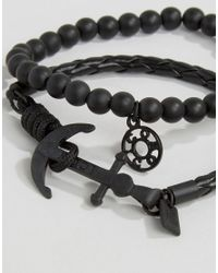Icon Brand - Silverball Anchor Bracelet In Black/black for Men - Lyst