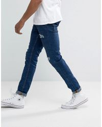 Bershka Blue Skinny Jeans With Rips In Mid Wash for men