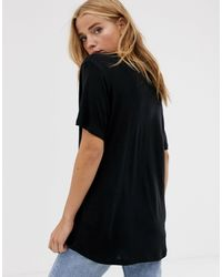 Pull&Bear Black – es Basic-T-Shirt mit V-Ausschnitt