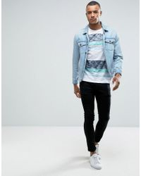 Esprit White Crew Neck T-shirt In Reverse Slub Stripe for men