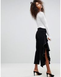 ASOS Black Straight Leg Jean With Ruffle Side
