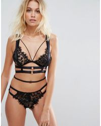 ASOS - Black Strappy Harness With Rose Gold Buckles - Lyst