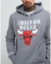 Mitchell & Ness Gray Nba Chicago Bulls Hoodie for men