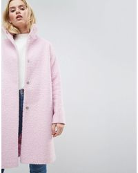 ASOS - Purple Oversized Coat In Wool Blend With Funnel Neck - Lyst