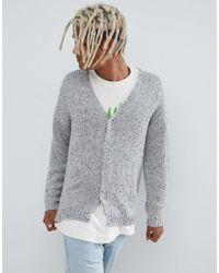 Crdigan grueso en gris de hilo jaspeado de ASOS de hombre de color Gray