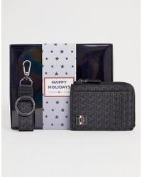Set regalo con portachiavi e portacarte con zip con stampa nera a monogramma di Tommy Hilfiger in Black da Uomo