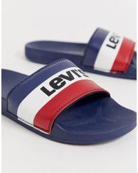 Levi's – June Sportswear – Slider in Blue für Herren
