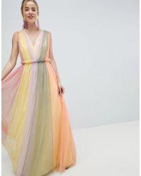 Vestido largo de tul con diseo colour block pastel de ASOS de color Multicolor