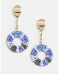 ASOS Metallic Earrings With Colourful Woven Open Circle Drop