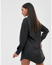 Vestito camicia nero con inserto di Missguided in Black