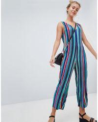 2e560d791d7711 Combinaison raye plisse multicolore femme de coloris bleu