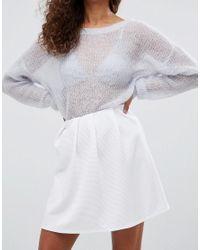 ASOS - White Mini Skater Skirt With Pleats In Rib - Lyst