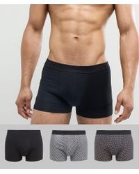 New Look Yellow Trunks With Cube Print In Black 3 Pack for men