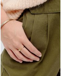 ASOS - Metallic Gold Plated Sterling Silver Ball Ring - Lyst